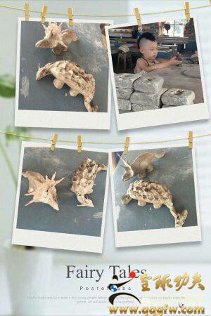 益群的一组恐龙泥塑作品